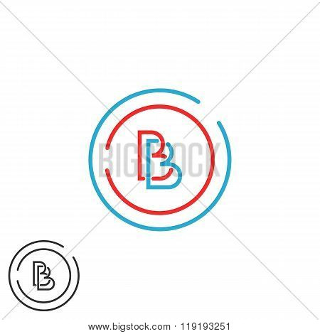 Two Letter B Logo Monogram, Bb Overlapping Symbol Blue And Red Circle Frame, Hipster Design Element