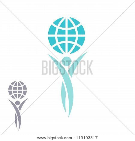 Globe Logo Man Hands Up Planet Together, Achievement Success Creative Idea, Save Earth Emblem