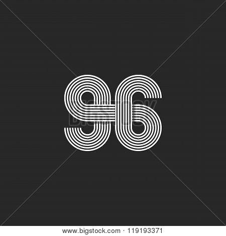 Number Logo 96 Creative Offset Thin Line Monogram, Modern Mockup Print T-shirt
