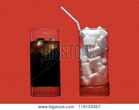 Cola Refreshing Drink And Glass Full Of Sugar Cubes And Straw Representing Massive Calories Content