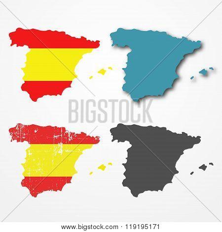 Spain silhouette set