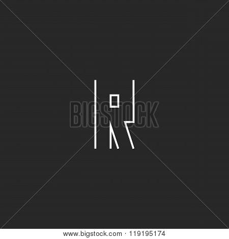 Hipster R Letter Logo Monogram, Original Modern Linear Emblem Mockup