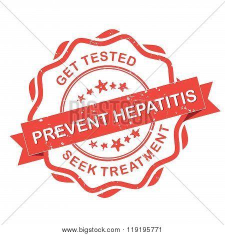 Prevent Hepatitis red grunge label