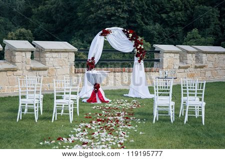 Beautiful Elegant Wedding Aisle Archway At Resort