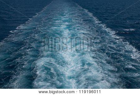 Ship Trails In Blue Sea