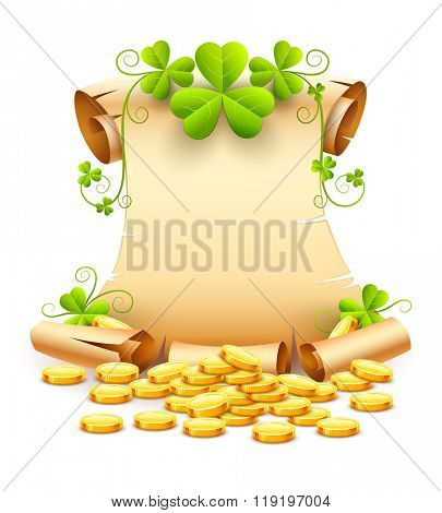 Vintage paper script of leaves clover and gold coins for day saint patricks vector illustration. Isolated white background. Transparent objects used lights shadows drawing