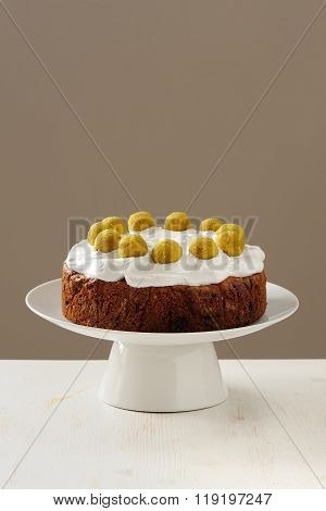 Homemade Simnel Cake With Royal Icing On White Background For Easter