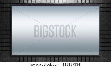 Large Tv Display On Brick Background