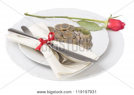 Plate With Coins Knife And Fork