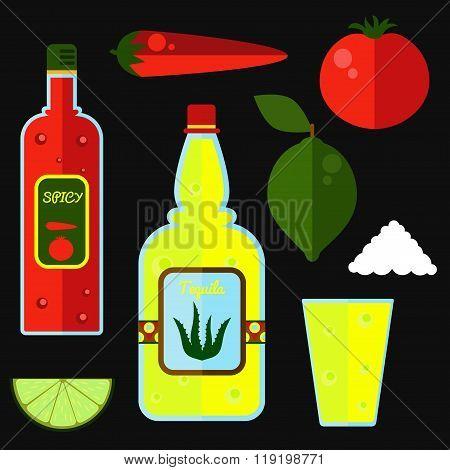 Tequila vector set
