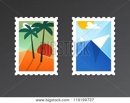 Travel And Tourism Backgrounds With Palms On A Beach And Seascape. Abstract Vector Illustration