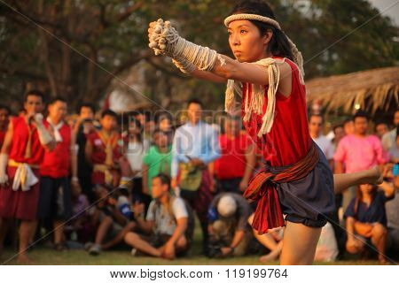 AYUTTHAYA,THAILAND - MARCH 17,2013 : Female martial arts master shows ceremonial dance.
