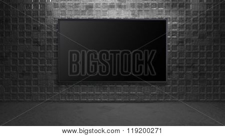 Led Tv Display On Metal Square Wall Turn Off