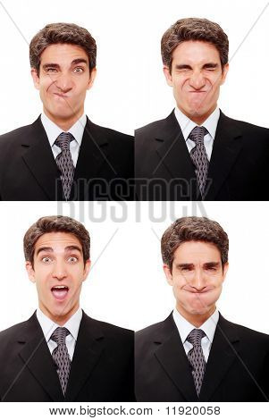 Young businessman with multiple face expressions