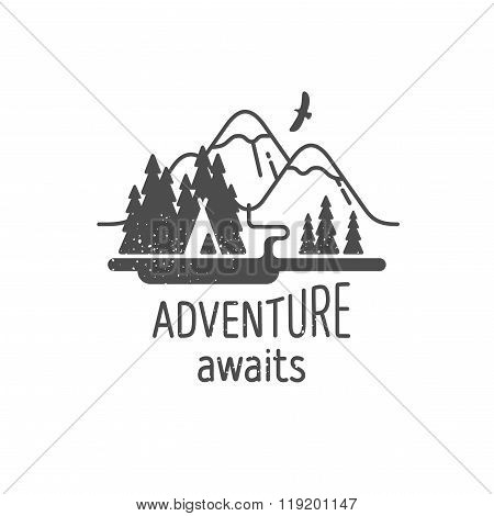 Adventure Awaits Element for Greeting Cards Posters and T-shirts Printing