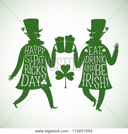 Cartoon Leprechauns Silhouettes With Lettering