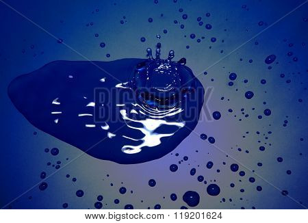 Unevenly Bstract Blue Background With Water Drops