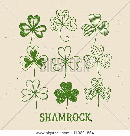 St. Patrick's Day Doodle Shamrocks Set