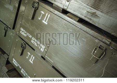Dark Green Wooden Boxes For Ammunition