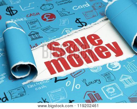 Money concept: red text Save Money under the piece of  torn paper