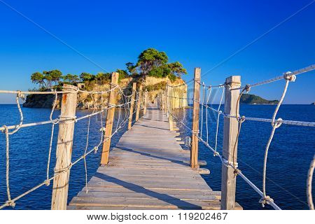 Hanging bridge to the island, Zakhynthos in Greece