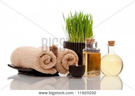 Varios artículos de spa sobre fondo blanco