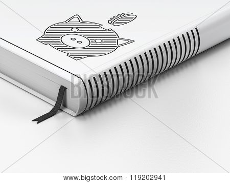 Money concept: closed book, Money Box With Coin on white background
