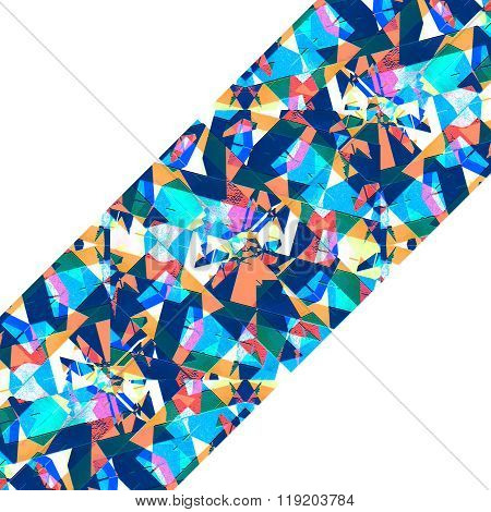White Frame With Sharp Geometric Multicolor Collage Stripe Pattern