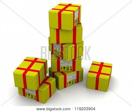 Yellow postal parcels