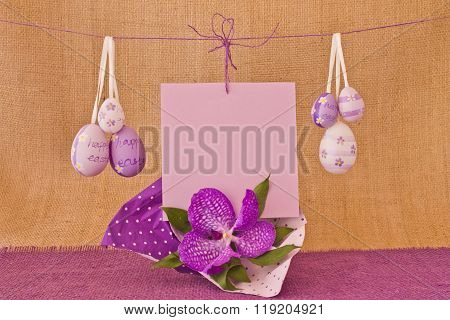 Easter Eggs Template For Postcard