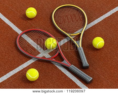 Tennis Rackets And Ball On Hard Court