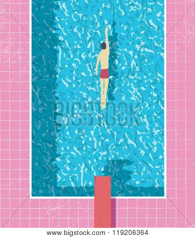 1980s style summer holiday poster with swimmer in swimming pool. Pink grunge worn tiles and water te