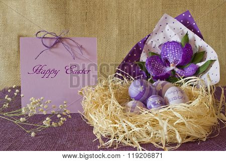 Still Life Of Easter Eggs In A Straw Nest