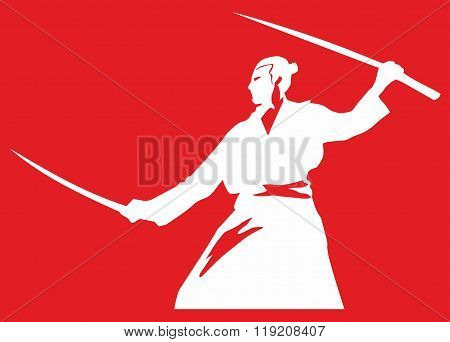 Silhouette of a samurai with two swords