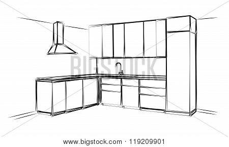 Black-white Sketch cuisine. Plan kitchen. Vector illustration