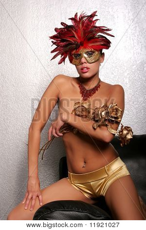 Sexy African American woman in mask