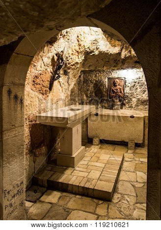 Bethlehem, Israel, July 12, 2015: The City Of Bethlehem. Cross In The Grotto Of St. Jerome In The Ar