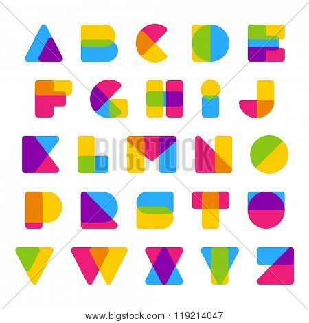 Vector colorful alphabet made of simple rounded overlapping shapes. Beautiful vivid capital latin letters from A to Z. Ready for poster or artwork design.