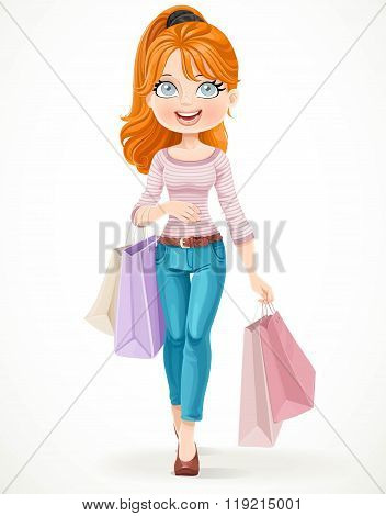 Cute Redhead Shopaholic Girl Goes With Paper Bags In Hands Isola