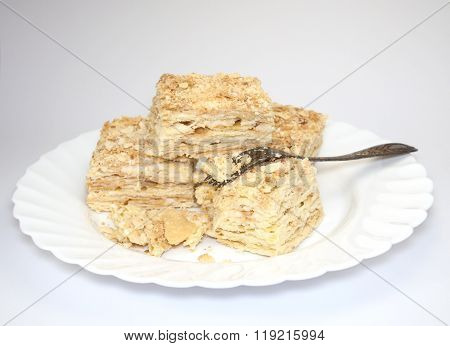 Pieces Of Cake With A Fork
