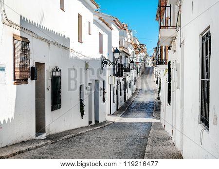 Narrow Street Of Altea, Costa Blanca. Spain