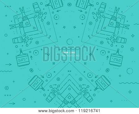 Vector Modern Pattern. Thin Line Techno Texture. Geometric Pattern Background. Rhombus, Triangles and Circles in Nodes. Abstract Ornament for Business Design.