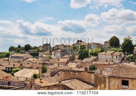 View Over Picturesque Rooftops Of Saint-emilion, France
