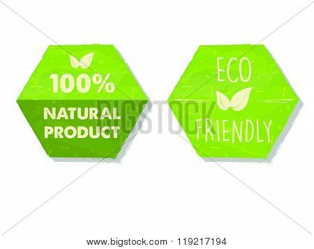 100 percent natural and eco friendly with leaf sign in green hexagons labels, vector