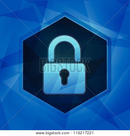 padlock sign in hexagon over dark blue background, flat design, vector