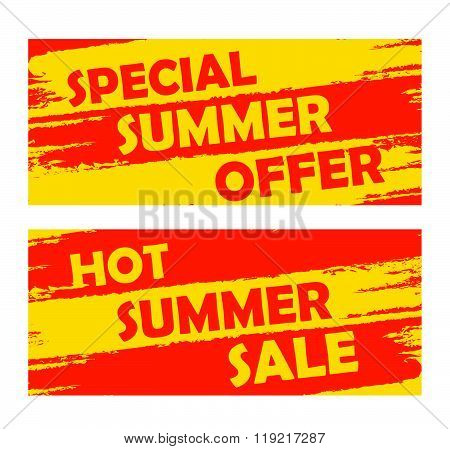 summer special offer and hot sale, drawn banners, vector