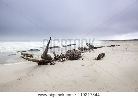 Debris left over from a shipwreck on Namibia's Skeleton Coast