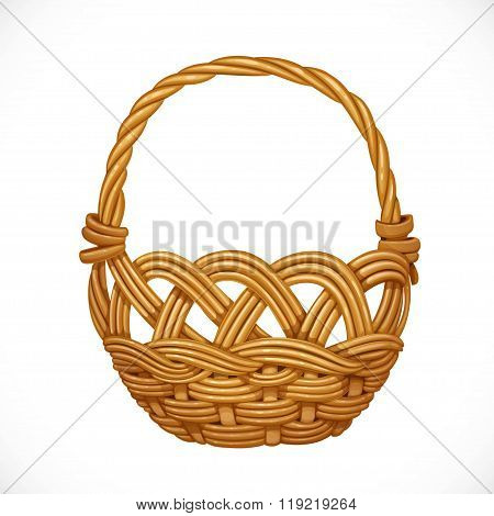 Wicker Basket Isolated On White Background. Vector Illustration