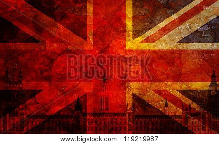 Westminster Palace Union Jack Flag Grunge Texture Background