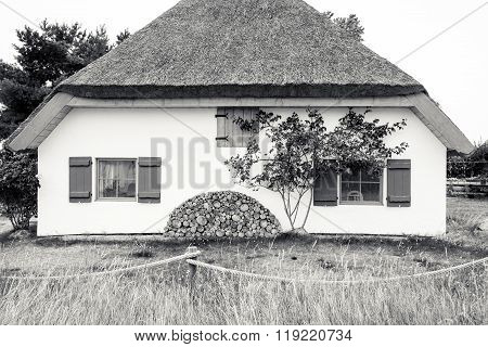 Bw Shot Of A Typical Cottage On Hiddensee Island